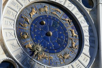 Golden zodiac astrological clock, sunlight and shadow