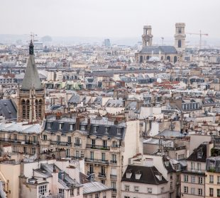 Paris, France - aerial city view with old architecture