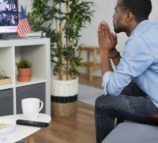 Black man waiting for USA election results