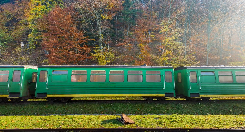 Railway train at abandoned train station in Carpathia Mountains,
