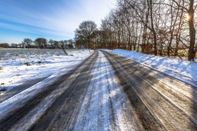 Black ice on a countryside road