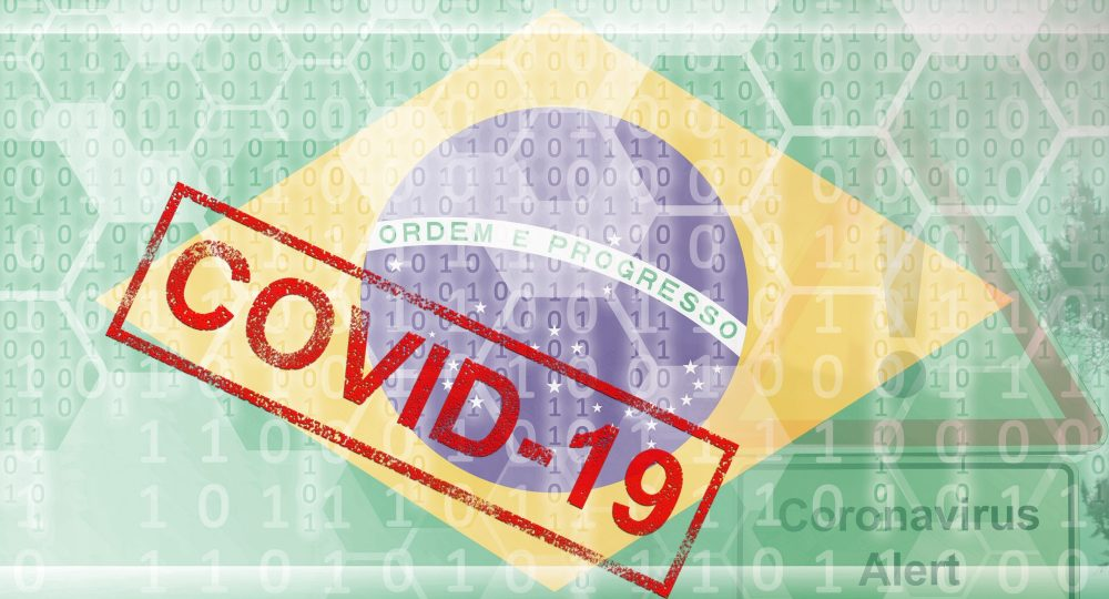Brazil flag and futuristic digital abstract composition with Covid-19 inscription